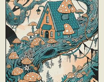 Mushroom Treehouse Color silkscreen