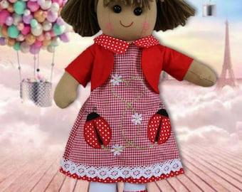 Personalised Rag Doll, Custom Rag Dolls, Embroidered Dolls, New baby girls gift, birthday or baby shower gift, baby girl