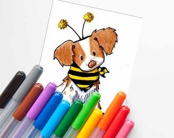Brittany Breton Bee Original Dog Art Illustration ACEO