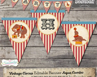 Vintage Circus Party Banner - INSTANT DOWNLOAD - Editable & Printable Party Decorations, Decor, Bunting by Sassaby Parties