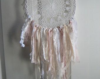 Crocheted Doily Dream Catcher, Vintage lace tattered fringe,  Shabby Chic, Boho decor