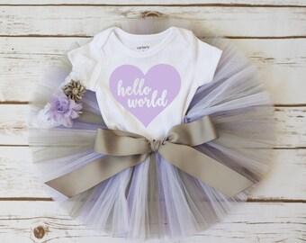 "Newborn take home outfit ""Addison"" Hello World newborn coming home outfit going home outfit girl newborn outfit baby girl newborn tutu"
