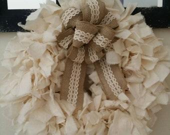 Cotton muslin rag wreath.