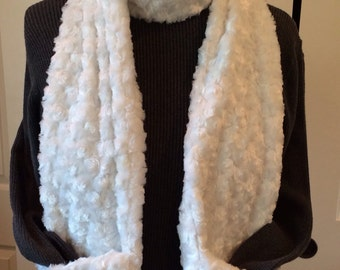Cozy swirl faux fur pocket scarf will keep you and your hands warm too. NOW in gray too!
