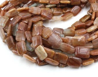 """16mm red crazy lace agate flat rectangle beads 15"""" strand"""