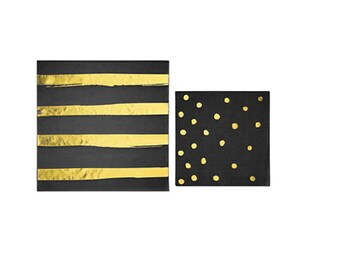 Black and Gold Napkins | Party Napkins, Striped Napkins, Beverage Napkins, Confetti Napkins, Wild One, Where The Wild Things Are Inspired