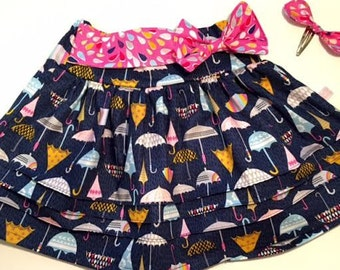 Girls Skirt, Girls Spring skirt, Umbrella's, Girls Party skirt,  Birthday Gift idea, Gift for Granddaughter
