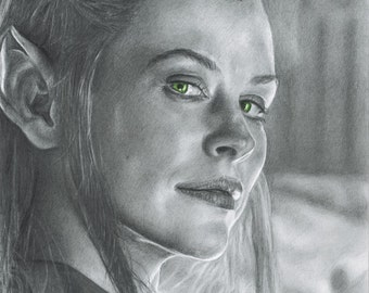 Drawing Print of Evangeline Lilly as Tauriel from The Hobbit: The Desolation of Smaug
