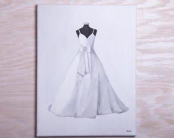 Custom Painted Wedding Dress + Stationary Set