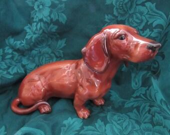 Vintage Red Dachshund Figurine,  Life sized. Nice
