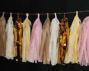 20 Tassel Blush Pink TIssue Paper Garland, Wedding Decoration, Wedding Streamers, Fringe Garland, Pom Garland, Balloon Tassels, Blush Pink