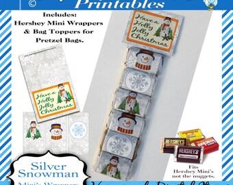 Hershey Mini's Candy Bar Wrapper, Christmas - Silver Snowman, Bag Tag, snowmen, for Mini bars not Nuggets