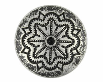 Retro Silver Color Flower Blossom Metal Shank Buttons - 25mm - 1 inch - 6 pcs