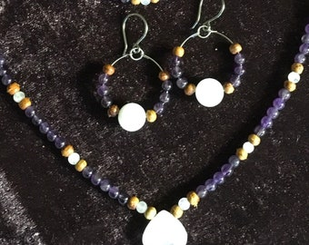 Moonstone, Amethyst and Rosewood Set