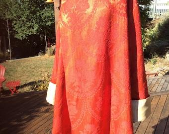 Hooded Vintage Curtain Wrap Coat