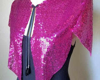 Pink Sequined Capelet,Cape,costume,New Year's,Christmas,holiday, sequin,Sparkle,gift,cosplay,woman,1920's,leather,vintage,repurposed,Gatsby