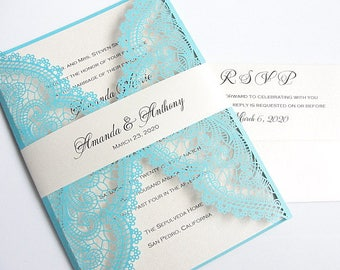 Laser Cut Wedding Invitation, Lace Laser Cut Wedding Invite, Lace Wedding Invite, Bohemian Wedding Invitation, ADELAIDE