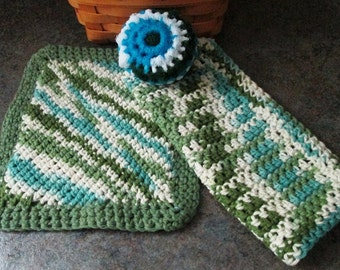 Hand Crocheted Dishcloth, Potholder and Scrubbie