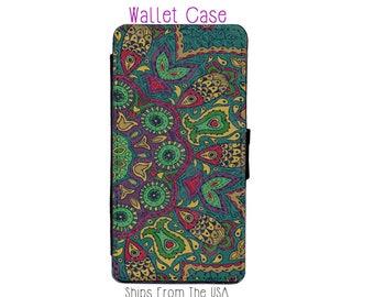 Green Mandala iphone 7 Case , iphone 7 case , iphone 7 Wallet Case , iphone 7 , iPhone 7 Wallet