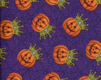 New Purple Pumpkins w/crowns & webs - Halloween - 100% cotton fabric by the yard and half yard