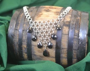 Spinel Necklace - Sterling Silver Chainmaille -  Bib Necklace - Anniversary Gift, Birthday Gift, Mother's Day