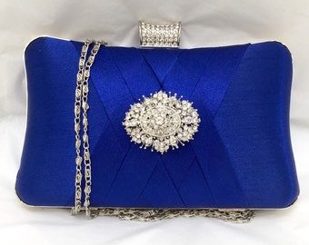 wedding clutch, formal clutch, Royal blue clutch, evening bag, bridesmaid clutch, bridesmaid bag, crystal clutch