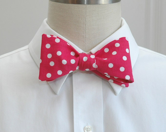 Men's Bow Tie, hot pink white polka dots bow tie, wedding bow tie, prom bow tie, groom bow tie, groomsmen gift, Derby bow tie, self tie