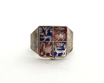 Vintage French Signet Ring with Enamel Animal Emblem Souvenir Shield