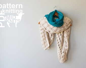 "DIY Knitting PATTERN - Duplicate Stitch Squirrel Stockinette & Lace Throw Blanket / Blanket Shawl / Scarf - 42"" x 52"" (2016013)"