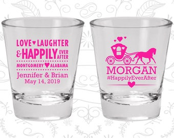 Wedding Shot Glass, Personalized Shot Glasses, Love Laughter Happily Ever After, Wedding Favors, Wedding Glasses (C552)