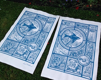 Stained glass lino cut design tea towel