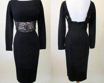 CLEARANCE Chic 1950's Cocktail Party Dress, Plunging back, shelf bust  & bead work Hollywood style Rockabilly Pinup Girl Size Small/Medium
