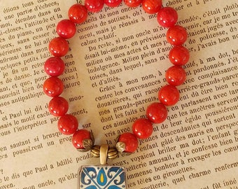 Stretch Tile Charm Bracelet, Red Coral Gemstones, Spanish, Mexican, Catalina and Mediterranean Tile Inspired Antiqued Brass Accents