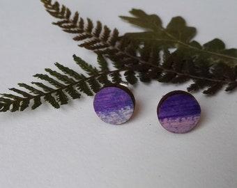 Wood Hand Painted Circle Stud Earrings in Purple Shades (1cm diameter)