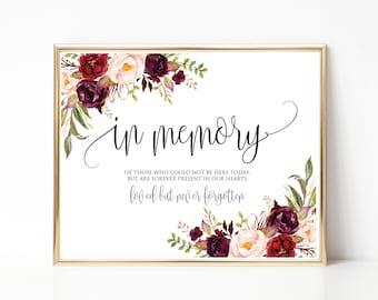 in loving memory wedding sign memorial printable watercolor