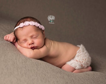 Pink Baby Headband, Infant Headband, Pink Flower Headband, Pink Baby Flowers, Tieback Headband, Newborn Headband, Baby Girl Headband