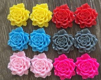 12 Large Rose Flower Resin 24mm Cabochon Flatback Embellishments DIY Craft Jewellery Making