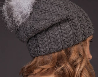 Gray Cashmere Women Beanie Hat With Natural Silver Fox Fur Pom-Pom, Knitted Skiing / Sports / Outdoor Hat