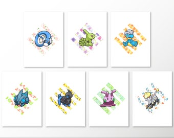 Pseudo-Legendaries Series: 7 Print Set [5x7 & 8x10 PRINTS]