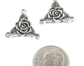 TierraCast Pewter Rosary Connector Link-SILVER ROSE TRINITY (2)