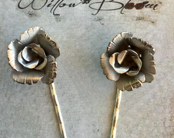 Silver Lisner Rose Bridal Hairpins Vintage 1950 1960 Jewelry Woodland Wedding Decorative Bobby Pins