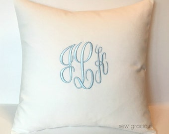 Custom Monogram Pillow Cover made to fit an 18 x 18 Throw Pillow Insert. Wedding Gift. 2nd Anniversary Gift. Dorm Decor. Nursery Decor.