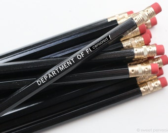 Funny Pencil Set. Black and Silver Pencil Set. Dept of F*ckery. Hot Foil Stamped Pencils. Mature.