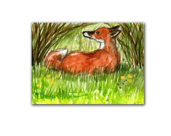 Special Spring Collectors Love Red Fox 4 Art Work Miniature Original by llmartin ACEO Watercolor