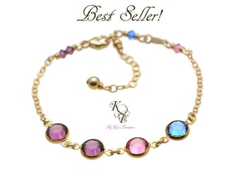 Birthstone Bracelet - Mothers Day - Gold Birthstone Bracelet - Grandmother Bracelet - Birthstone Gifts - Gold Bracelet - Mothers Gifts