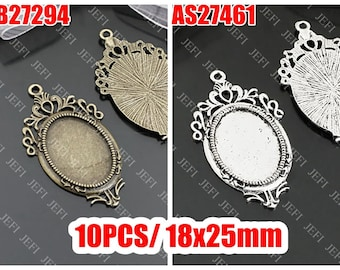 10 Oval Pendant Trays- Antique Bronzed/ Antique Silver Filigree Frame 18x25mm Oval Bezel Setting Wholesale Jewelry Findings