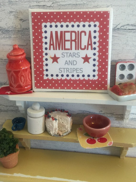 "Miniature America 2"" x 2"" canvas sign"