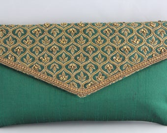 Emerald Green Clutch with Gold Embroidery