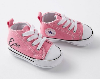 Custom name pink baby Converse trainers. Personalised genuine Converse crib sneakers. Cool baby shoes. Baby shower gift. Baby chucks