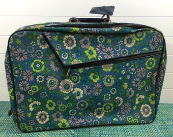 Vintage Blue Floral Tapestry Suitcase Made in Japan- retro suitcase, floral suitcase, blue floral suitcase, travel case, 60's suitcase